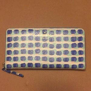 Kate Spade Periwinkle and Mint accordion wallet